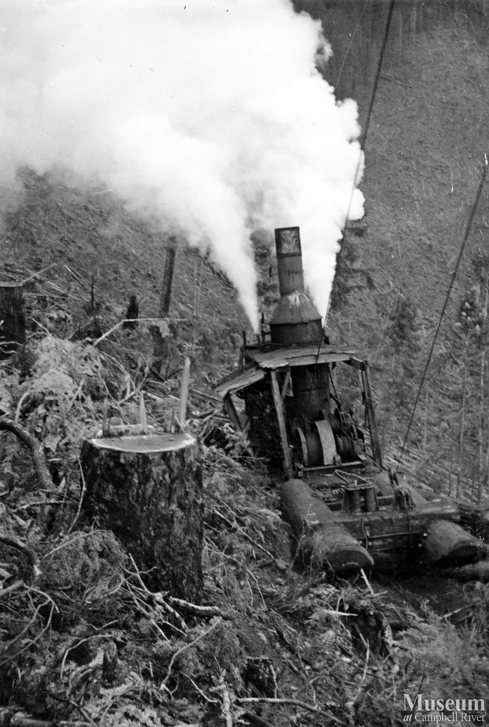 Steam Donkey In Operation Campbell River Museum Online