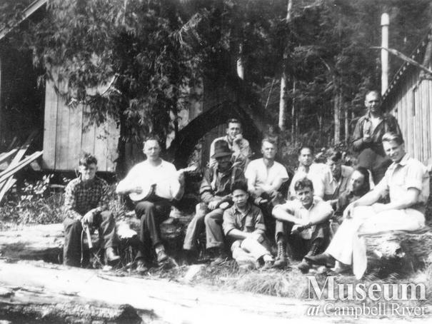 First crew of loggers at Port Neville