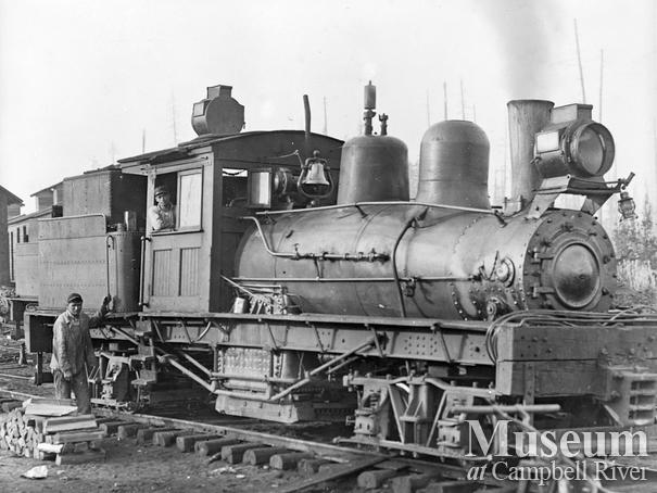 Steam logging locomotive in the Campbell River area