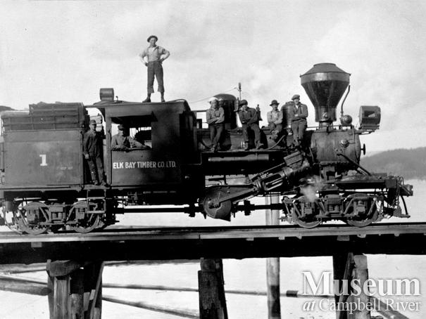 Elk Bay Timber Co. logging locomotive on a trestle