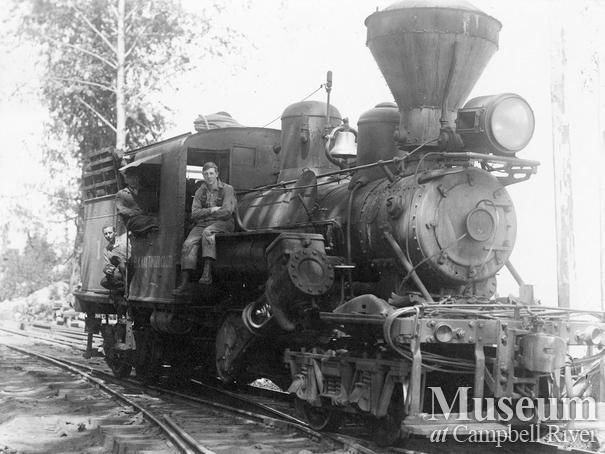 Elk Bay Timber Co. locomotive and crew