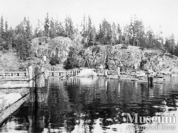 The log dump at Camp 0 on Thurlow Island