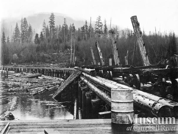 Log dump at P.B. Anderson's Camp at Knox Bay, Thurlow Island