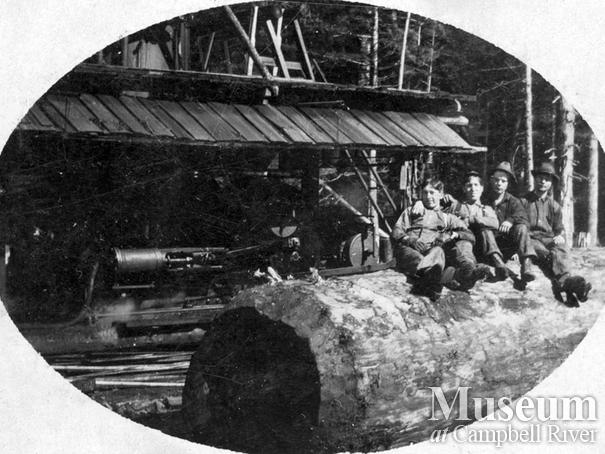 Logging crew with a steam donkey on Thurlow Island