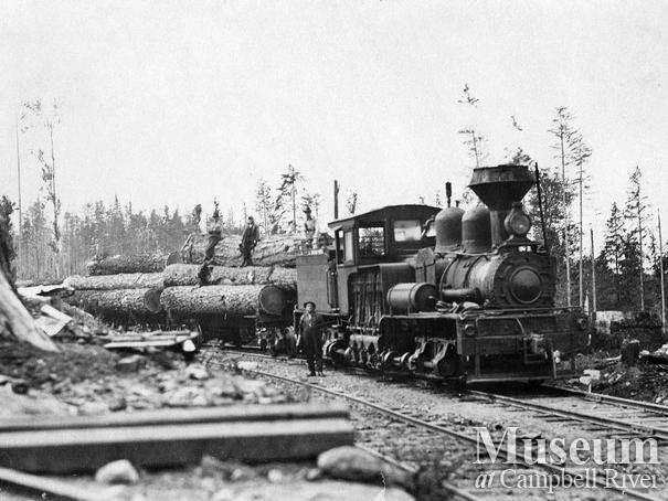 Merrill, Ring and Wilson locomotive near Duncan Bay