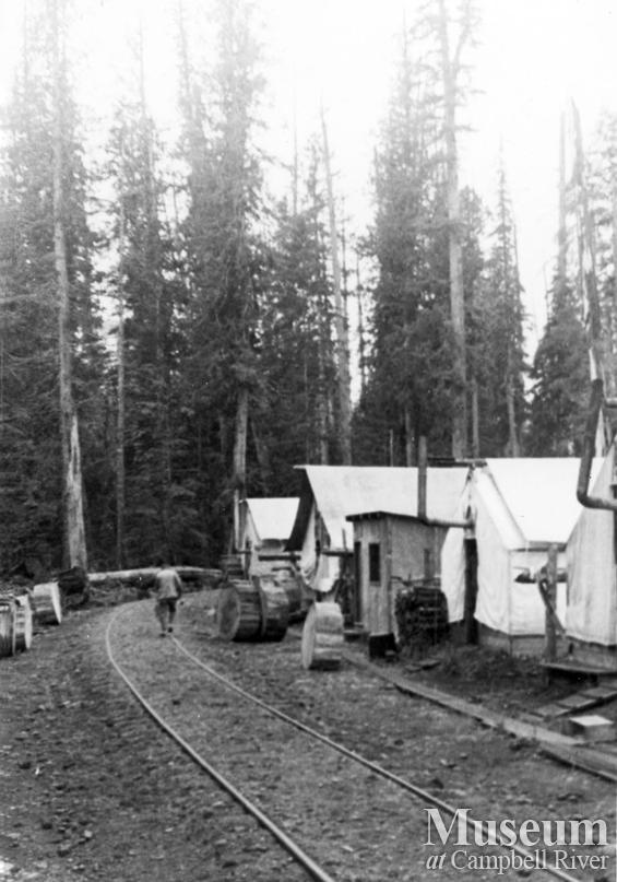 Camp 10 in the Elk Valley alongside logging railline