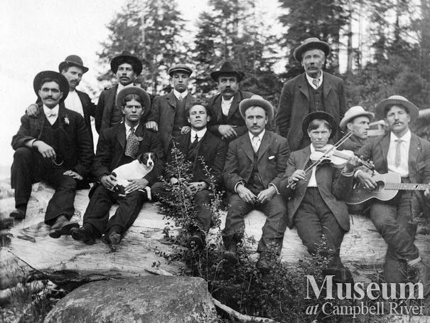 Early loggers on holiday at Heriot Bay, Quadra Island