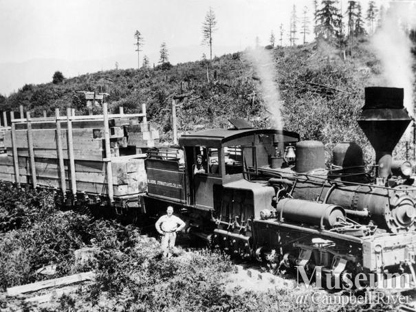 Shay locomotive near Menzie's Bay