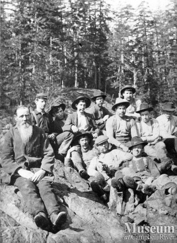 A group of loggers at Gowland Harbour on Quadra Island