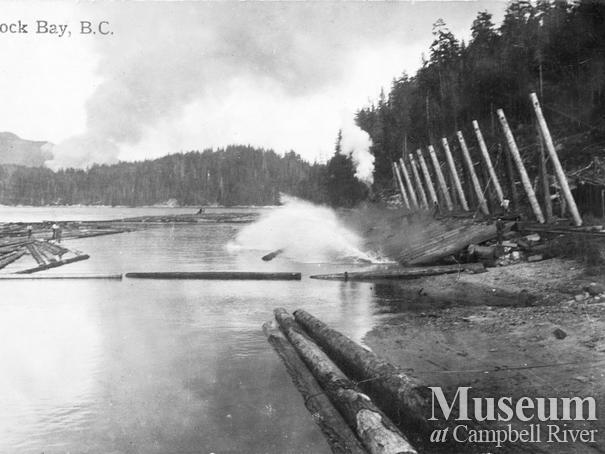 Hastings log dump at Rock Bay