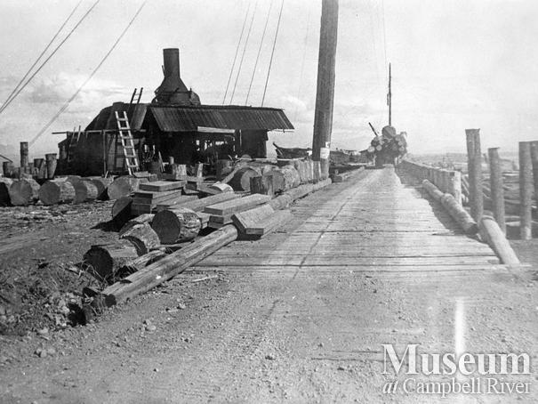 Unloading area at Oyster Bay logging operations