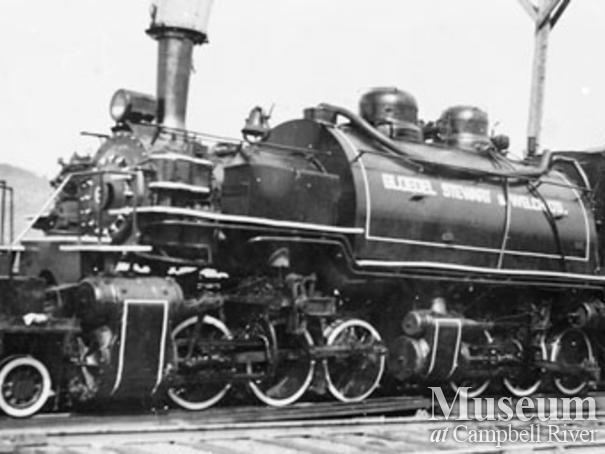 Bloedel, Stewart and Welch's 6 spot locomotive in Menzie's Bay