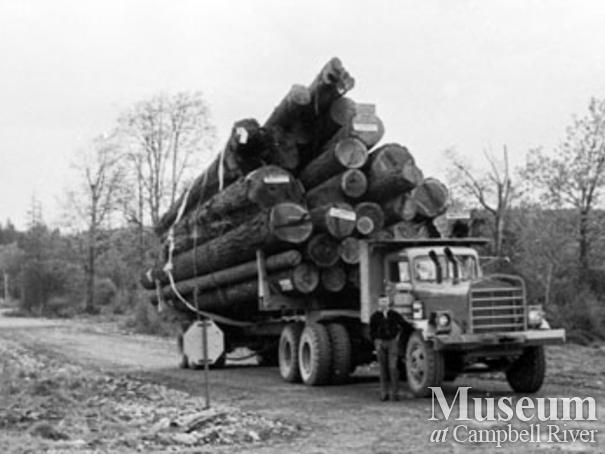 Logging truck near MacMillan Bloedel Camp 5