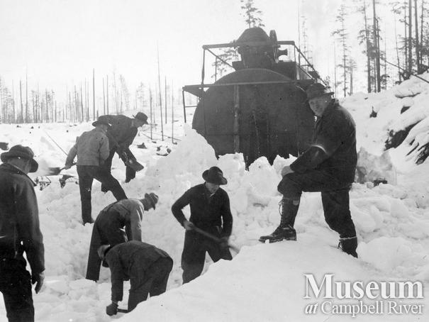 Bloedel Stewart and Welch locomotive stuck near camp 4