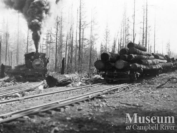 International Timber Co. locomotive with a load of logs