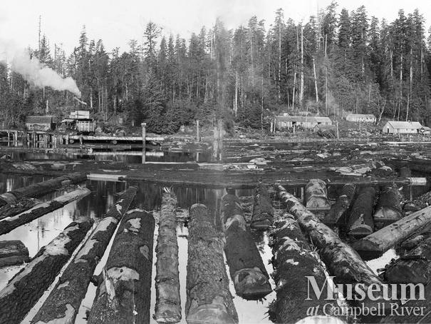 View of logging camp from the water