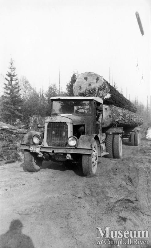 A loaded Elk River Timber Co. logging truck