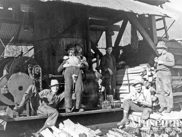 Elk River Timber Co. loggers on break