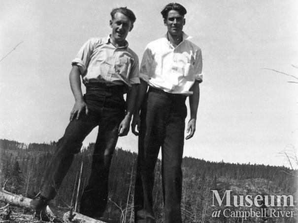 Loggers from Elk River Timber Co. camp