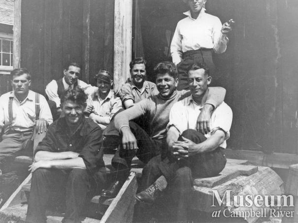 Loggers at Elk River Timber Co. camp
