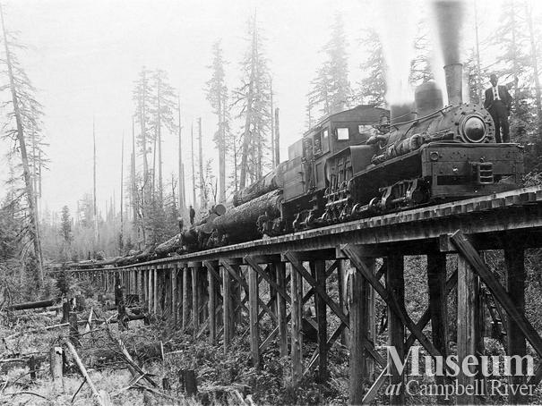 International Timber Co. locomotive on a trestle