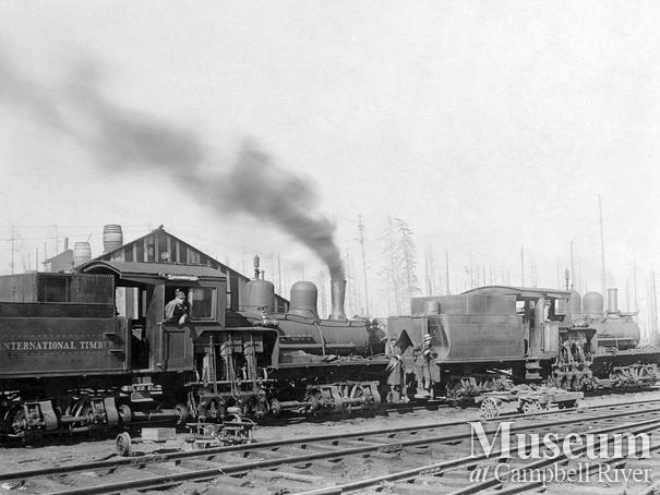 International Timber Co. locomotives in camp