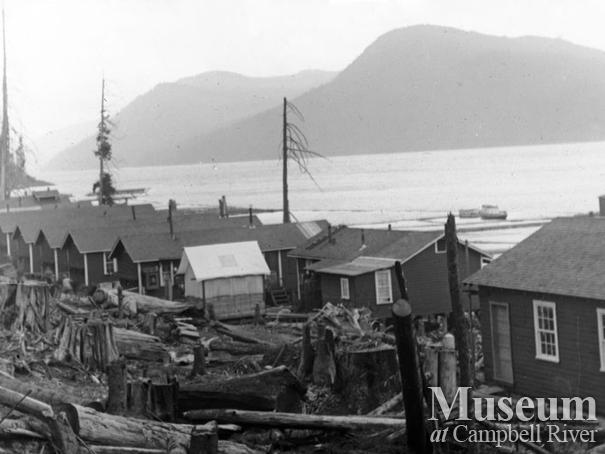 View of logging camp at Elk Bay