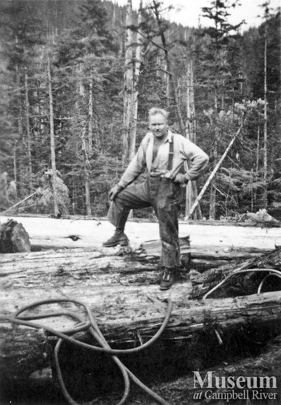 Dick Hopkins logging in the Port Neville area