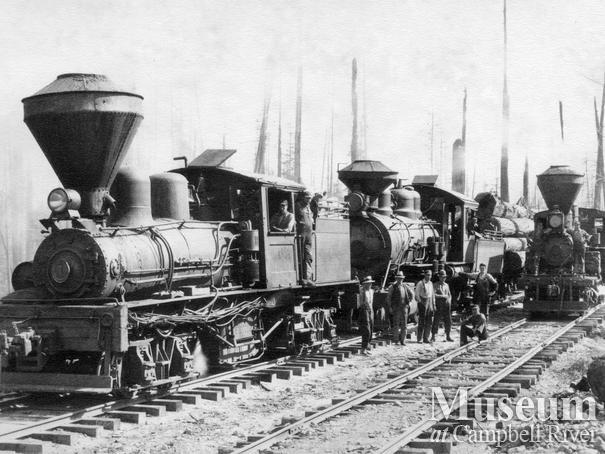 Bloedel, Stewart and Welch locomotives at Myrtle Point