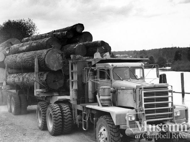 Loaded logging truck