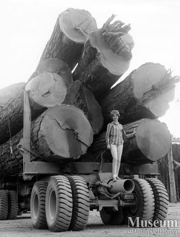 A truck loaded with big timber