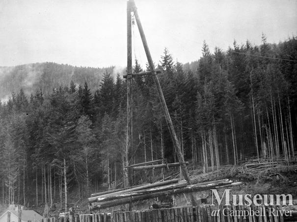 A frame unloading logs at Port Neville
