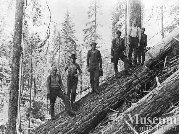 Bendickson Logging crew at their operations at Jervis Inlet