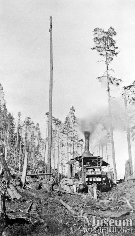 Steam donkey and spar tree used by Bendickson Logging