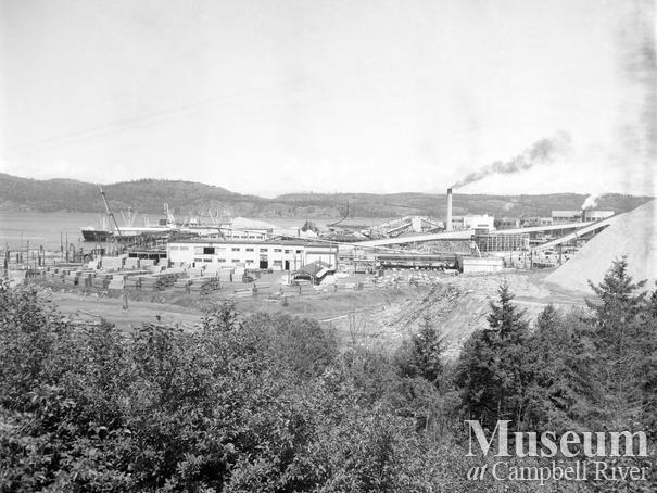 View of Elk Falls Co. sawmill yard near Campbell River