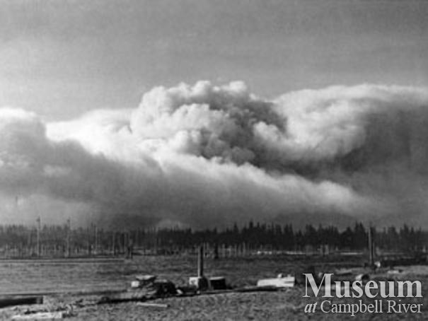 Smoke from the Sayward Fire