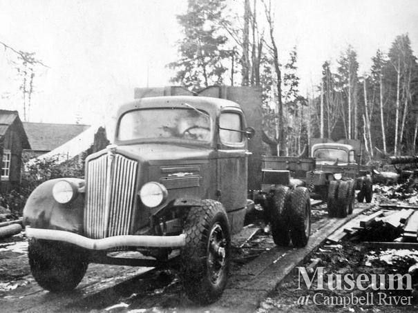 Early logging trucks at Palmer Bay