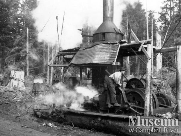 Steam donkey operations near Dent Island