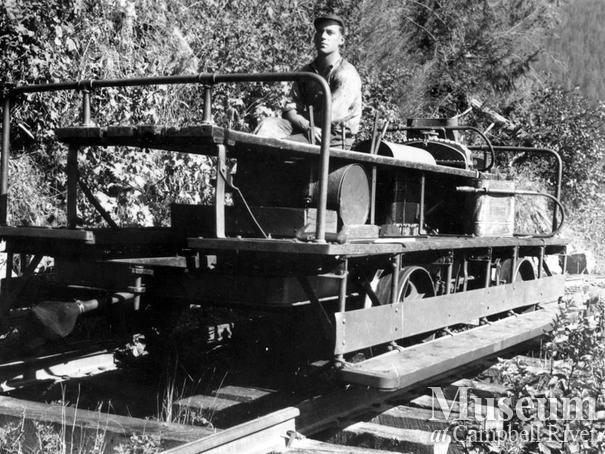 Locomotive speeder at camp in Ramsey Arm