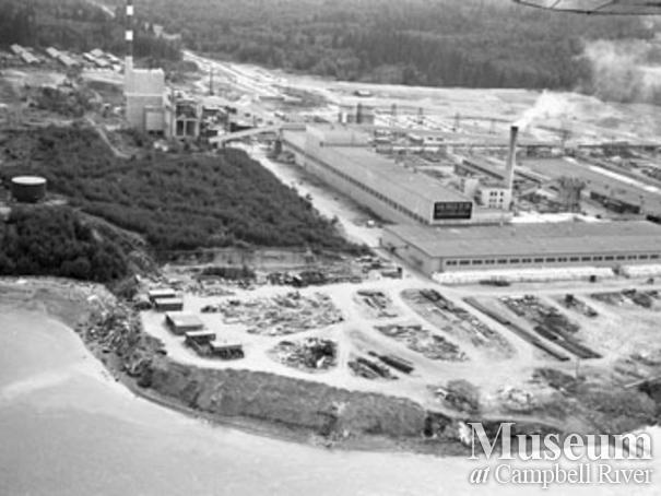 Aerial View of Elk Falls Mill Campbell River