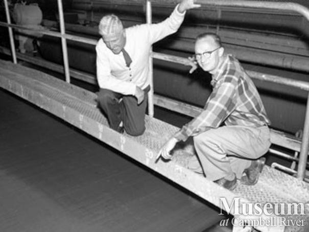 Screening pulp at Elk Falls Mill