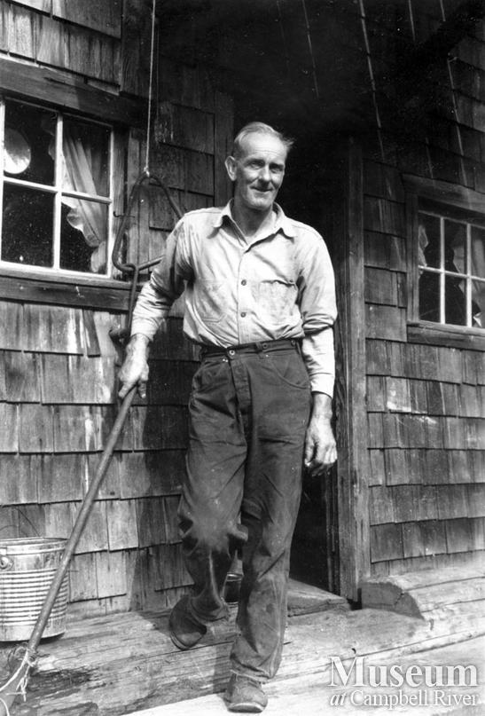 Dick Parker at his camp at Trevenon Bay