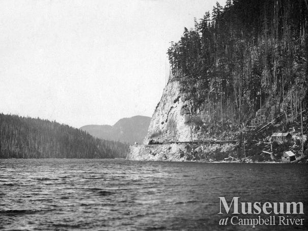 A rock cut near  Rock Bay
