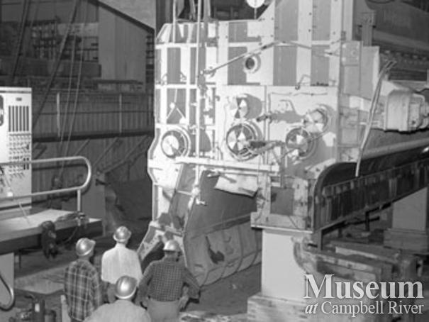 Installing the head box at No. 2 paper machine, Elk Falls Mill