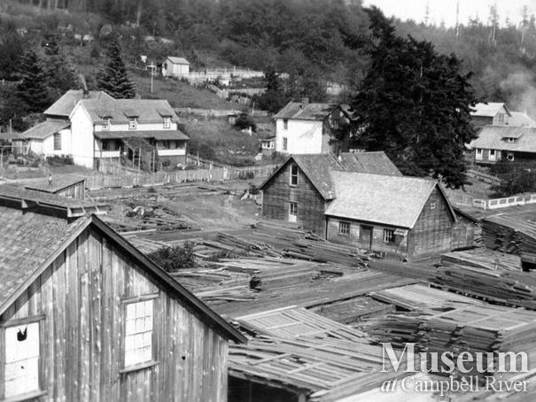 Sawmill lumber yard at Alert Bay
