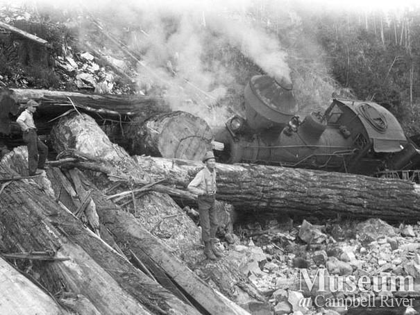 Wood & English shay locomotive off of the tracks at Camp 8