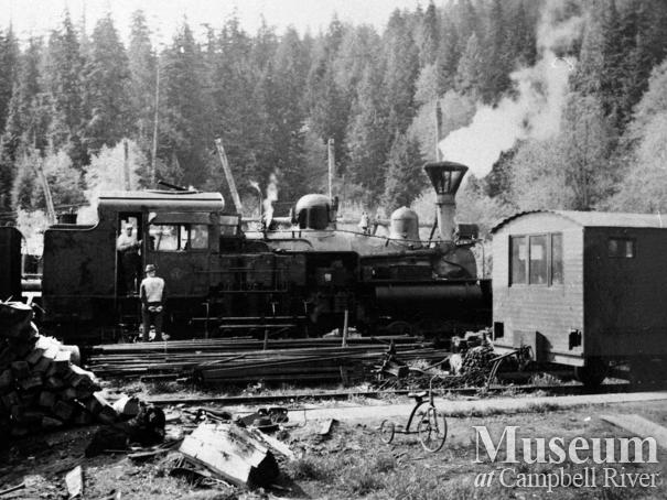 Merrill, Ring and Wilson Co. locomotive at Rock Bay
