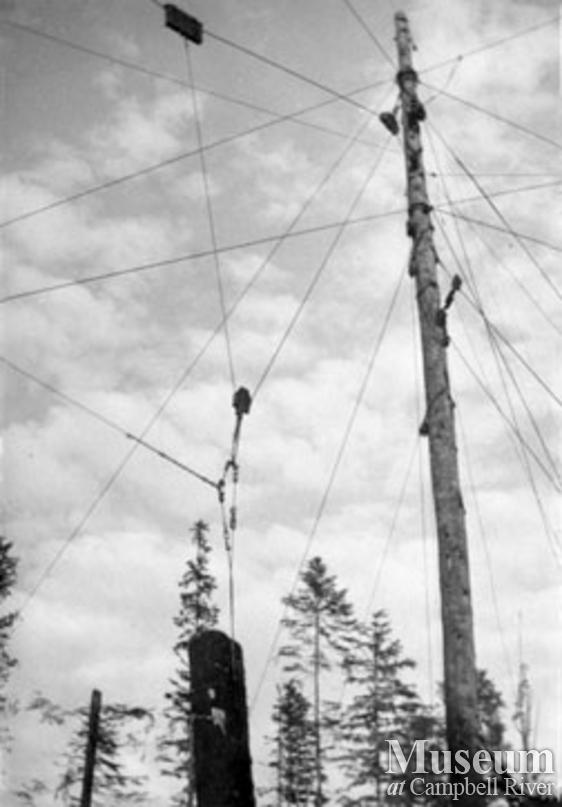 Hauling a log with a spar tree in Port Neville