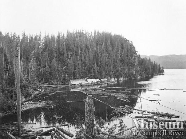 Clark and Lyford logging float camp at Booker Lagoon