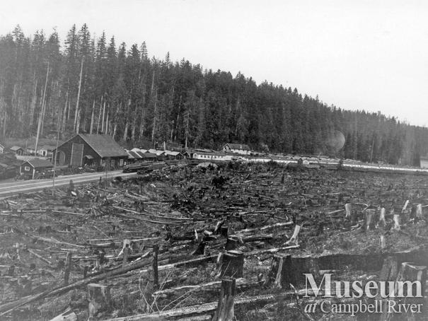 View of Elk River Timber Co. Camp 8 at Echo Lake